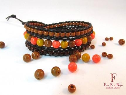 Bratara-femei-margele-sticla-orange-CARAMEL-ORANGE