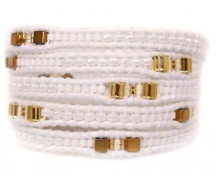 Bratara-wrap-piele alb-perlata-cinci-randuri