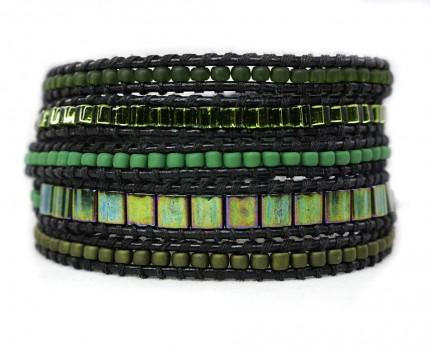 Bratara-margele-verzi-sticla-piele-naturala-neagra-GREEN-MUD
