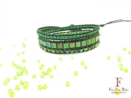 Bratara-femei-piele-margele-Green-Tiles