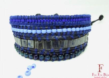 Bratara-femei-snur-piele-margele-albastre-hematit