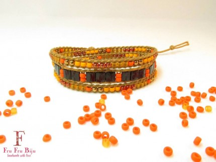 Bratara-dama-margele-sticla-ORANGE-BLEND