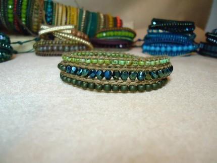 Bratara-wrap-snur-piele-cristale-PICASSO-GREEN