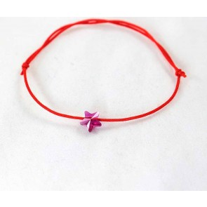 Bratara snur rosu si cristal Swarovski stea roz LC054